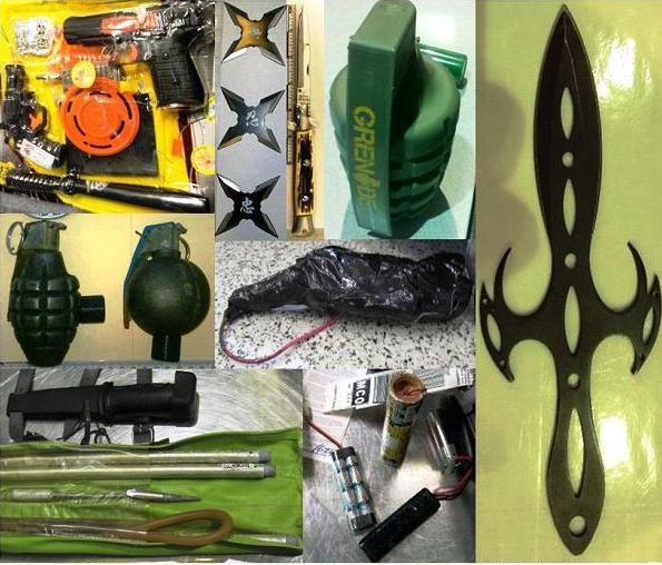 Armas incautadas en aeropuertos