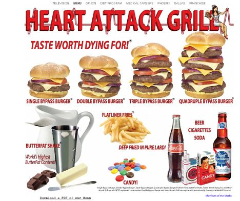 heart attack grill menu