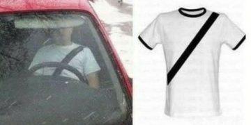 Venden camiseta con cinturón de seguridad falso